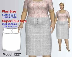 Plus size Skirt Sewing Pattern PDF, Women's Plus size Yoke Skirt sizes 24-34