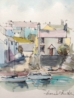 Original Water Colour painting  'Cemaes Bay Harbour, Anglesey' Signed