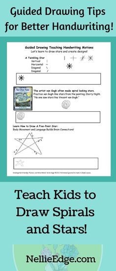 """Kindergartners LOVE using Nellie Edge AUTHENTIC guided drawing tips! Teach kids how to draw a twinkling star, a spiral star like van Gogh's, & a 5-point star. Teach pencil grip & build strong fingers! Teach students how to fingerspell a,b,c,d & """"duck talk"""". See literacy gains! Involve families at home. Fun for younger kids too! #guided #guideddrawing #teach #NellieEdge #lesson #PD #printable #ideas #letterformation #newteacher #joyinkindergarten #activities #writing #kind"""