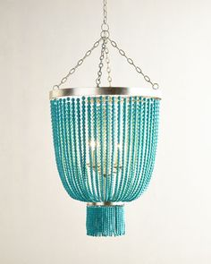 Turquoise-Bead+4-Light+Chandelier+at+Horchow.