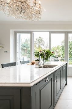 A Perrin & Rowe Pheonix tap with separate rinse finished in polished chrome was selected as the main kitchen tap onto the island. Grey Shaker Kitchen, Shaker Style Kitchens, Kitchen Taps, Grey Kitchens, Bespoke Kitchens, Farrow And Ball Paint, Farrow Ball, Carrara Quartz, Shaker Furniture