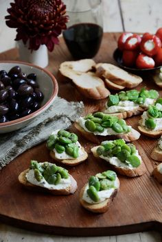 Broad Bean Crostini with Soft Goat Cheese | via From the Kitchen blog