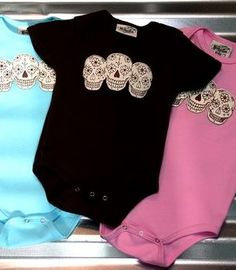 cute onesies. Love the sugar skulls!