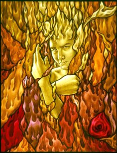 FIRE - one of the four emements interpretations by Sylvia Laks, glass painter