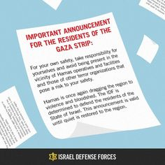 And their message translated to English:   Israel Drops Thousands Of Warning Leaflets Over Gaza