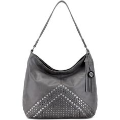 The Sak Indio Studded Leather Hobo ($134) ❤ liked on Polyvore featuring bags, handbags, shoulder bags, slate grey, studded handbags, studded leather purse, the sak handbags, the sak purse and studded shoulder bag