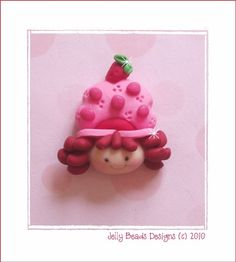 Sweet Strawberry Shortcake Polymer Clay Bead by jellybeadsdesigns, $3.25