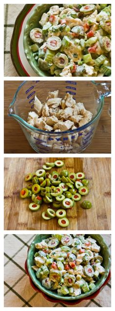Shredded Chicken Salad with Green Olives, Celery, and Green Onion is delightfully red and green for a perfect low-carb Christmas Salad for a holiday buffet. I'd add avocado instead of celery. Green Veggies, Fresh Vegetables, Healthy Nutrition, Healthy Eating, Nutrition Data, Nutrition Websites, Nutrition Products, Nutrition Chart, Wellness Products