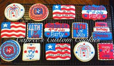Custom red, white and blue 4th of July cookies. Decorated with royal icing.