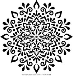 Stencils Mandala, Stencil Patterns, Mandala Painting, Stencil Painting, Flower Stencils, Tattoo Patterns, Stenciling, Mandala Pattern, Mandala Design
