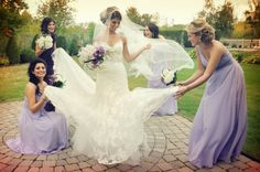 Purple Bridesmaids and  Bride with Lace Wedding Dress