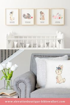 "Are you looking for nursery ideas for your girl's nursery? How about this nursery wall decor? This bunny nursery art is a set of 4 printables that have a portion of bible verse Proverbs 3:5-6 on each print. ""Trust in the Lord with all your heart and lean not on your own understanding; in all your ways submit to him and he will make your paths straight."" Visit Elevation Boutique for this nursery wall decor, matching pillow and other nursery ideas for girls! #nurseryideasgirl #nurserywalldecor"