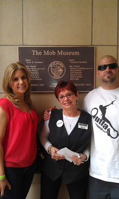 """Brandi Passante and Jarrod Schulz of """"Storage Wars"""" dropping by the Museum today and posing with Millie Spataro who works in our box office.     So You Want To Be A Picker? Online Course -CLICK ON THE PICTURE ABOVE ^"""