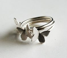 Butterfly Rings Stacking Set  This is for you Jennifer!