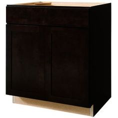 Kitchen Classics Brookton 30-in W x 35-in H x 23.75-in D Finished Espresso Birch Door and Drawer Base Cabinet