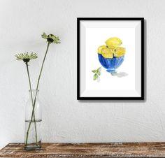 lemons art print Lemons in Blue bowl art print kitchen