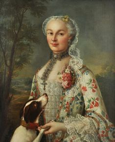 Portrait of a lady with her dog by François Hubert Drouais (French, 1727-1775)