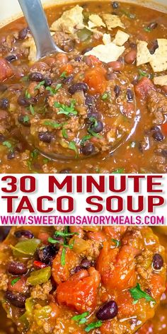 Best Taco Soup Recipe One Pot [VIDEO] Sweet and Savory Meals is part of Taco soup - Taco Soup recipe made easily in one pot is hearty, delicious and full of flavor Made with affordable and easy to find ingredients for the ultimate meal! Best Soup Recipes, Chili Recipes, Mexican Food Recipes, Healthy Recipes, Keto Recipes, Hearty Soup Recipes, Dinner Recipes, Dessert Recipes, Easy Taco Soup