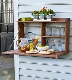cute idea for an outside bar....mayb can improvise for our garden potting usage instead