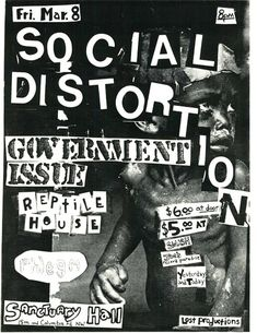 Social Distortion, Government Issue punk hardcore flyer