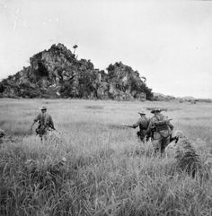 A clear view of the outcrop at Nihn Binh with (French) 5th Company advancing towards it ~ Vietnam War