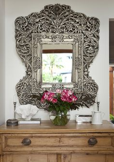 Porchlight Interiors - entrances/foyers - ornate mirror, ornate metal mirror, Chic foyer vignette with hand carved mirror and vintage chest Ornate Mirror, Vintage Mirrors, Metal Mirror, Mirror Mirror, I Love Mirrors, Beautiful Mirrors, Cosy Home, Interior And Exterior, Interior Design