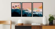 Abstract Landscape Triptych Set of 3 Framed Wall Art Prints Multi Wall Art Prints, Framed Prints, Framed Wall, Travel Wall Art, Detail Art, Illustrations, Autumn Home, Colour Schemes, Frames On Wall