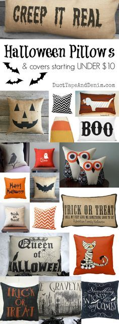 Halloween pillows and pillow covers starting at UNDER $10.00! More fall decor ideas on Duct Tape and Denim blog. DuctTapeAndDenim.com