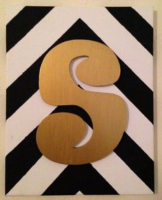 Chevron canvas with initial