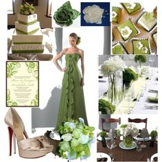 sage green wedding, ivory wedding, created by tweeterj on Polyvore