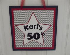 50th 50 Birthday Door Sign Chevron Party Sign Decoration Decor Red White Blue Star Birthday Door, 50 Birthday, Happy 50th Birthday, 50th Birthday Decorations, Party Signs, Door Signs, Red White Blue, Chevron, Star