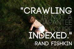 """Crawling is not a guarantee you're indexed.""—Rand Fishkin, Moz"