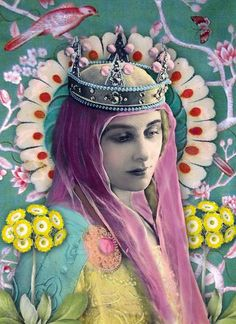 I don't know the artist's name.  This piece is so colorful, and very busy. Two elements that would normally not be in a portrait of the madonna. But by giving her pink hair/shawl thing, it makes her trendy. each detail , from the halo to the bird, are reminiscent of elements that would be found in renaissance art, but in a modern, trendy way.