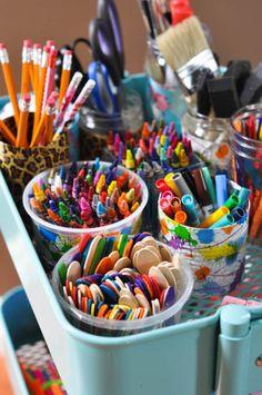 The Art Cart  //  Such a great way to organize art supplies!