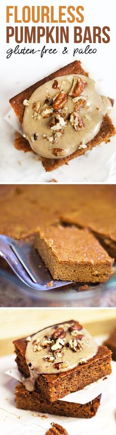 These FLOURLESS pumpkin bars are so moist and fluffy! They're naturally gluten-free, made with almond butter and honey, for a healthier baked treat. (Could use flax eggs to make vegan! Pumpkin Bars, Pumpkin Dessert, Paleo Dessert, Dessert Recipes, Pumpkin Puree, Dessert Bars, Gluten Free Baking, Gluten Free Desserts, Gluten Free Recipes