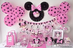 Kit imprimible Minnie Mouse rosa por Todo Bonito Minnie Mouse Birthday Decorations, Minnie Mouse 1st Birthday, Minnie Mouse Theme, 1st Birthday Girls, 2nd Birthday Parties, Mini Mouse Baby Shower, Fete Emma, Fete Halloween, Mickey Party