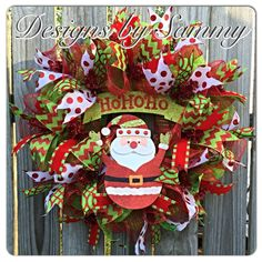 Whimiscal Christmas Santa Wreath by SammysWreathBoutique on Etsy https://www.etsy.com/listing/207850747/whimiscal-christmas-santa-wreath