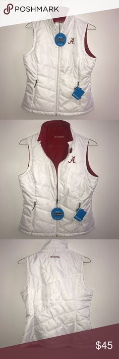 "NWT Colombia ""Alabama"" Vest -water resistant & weather proof vest -NEW! -has two pockets and is red on the inside 🐘🐘🐘ROLL TIDE🐘🐘🐘🐘 Columbia Jackets & Coats Vests"