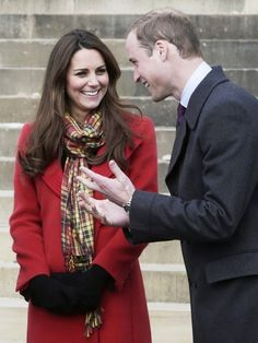 William, Earl of Strathearn, and Catherine, Countess of Strathearn (aka Prince William and Catherine, Duchess of Cambridge, aka Kate Middleton) visiting Scotland, 04/05/13. She's wearing a coat by Armani, Strathearn tartan by DC Dalgleish, and Aquatalia Rhumba boots.