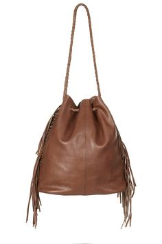 Premium Leather Drawstring Bag - Topshop