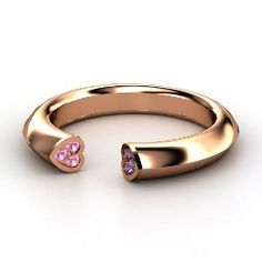 Two Hearts Ring, Rose Gold Ring with Pink Tourmaline. WHoa!