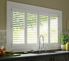 Durability * Style * Class * Hunter Douglas® shutters. The perfect window treatment for kitchen sinks
