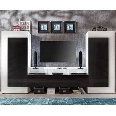 Lagos TV Entertainment Unit In White And Black Gloss With LEDs