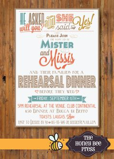 Rehearsal Dinner Invitation   Modern Rehearsal by TheHoneyBeePress, $15.00