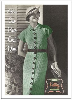 1930's Coat Dress Knitting Pattern - PDF Instant Download Pattern - PDF Knitting…