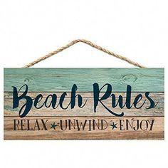Graham Dunn Beach Rules Relax Unwind Enjoy Weathered 5 x 10 Wood Plank Design Hanging Sign - Beachfront Decor