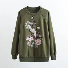 Spring Fashion O-Neck long sleeve Cranes embroidery plus velvet hoodies