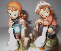 Vintage Boy and Girl Ceramic Figurines