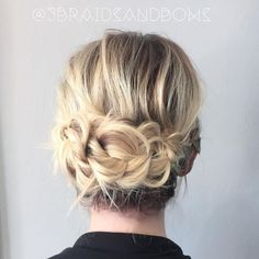 Messy Braided Updo # messy Braids bridesmaid 60 Updos for Thin Hair That Score Maximum Style Point Short Hairstyles Fine, Haircuts For Fine Hair, Box Braids Hairstyles, Updos For Fine Hair, Hairstyle Ideas, Braids For Thin Hair, Wedding Hairstyles, Hairstyles 2016, Trendy Haircuts