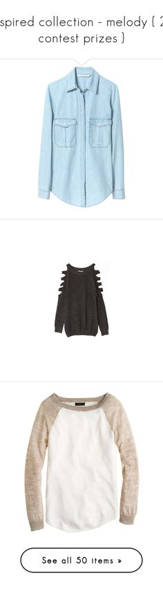"""inspired collection - melody { 2k contest prizes }"" by danceratheart ❤ liked on Polyvore featuring tops, blouses, shirts, blusas, blue, zara shirts, zara blouses, zara tops, shirt tops and chambray top"